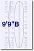 9 feet 9 inches B surfboard blank