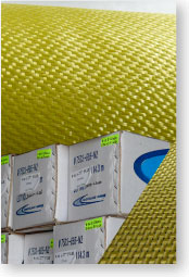 Kevlar® cloth package, roll, and box