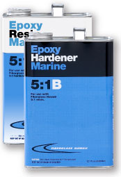 Can of Epoxy Resin Marine 5:1A and Can of Epoxy Handener Marine 5:1B laminating resin