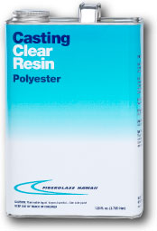 Can of clear casting resin