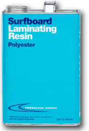 Can of surfboard laminating resin