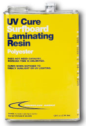 Can of UV cure surfboard laminating resin
